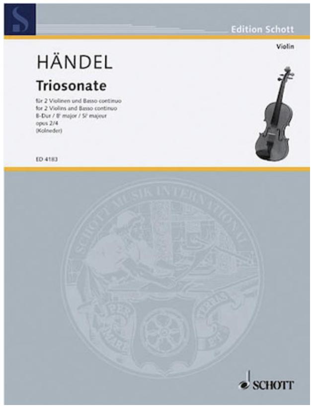 HAL LEONARD Handel: Trio Sonata Op. 2 No. 4 (2 violins, cello, piano)