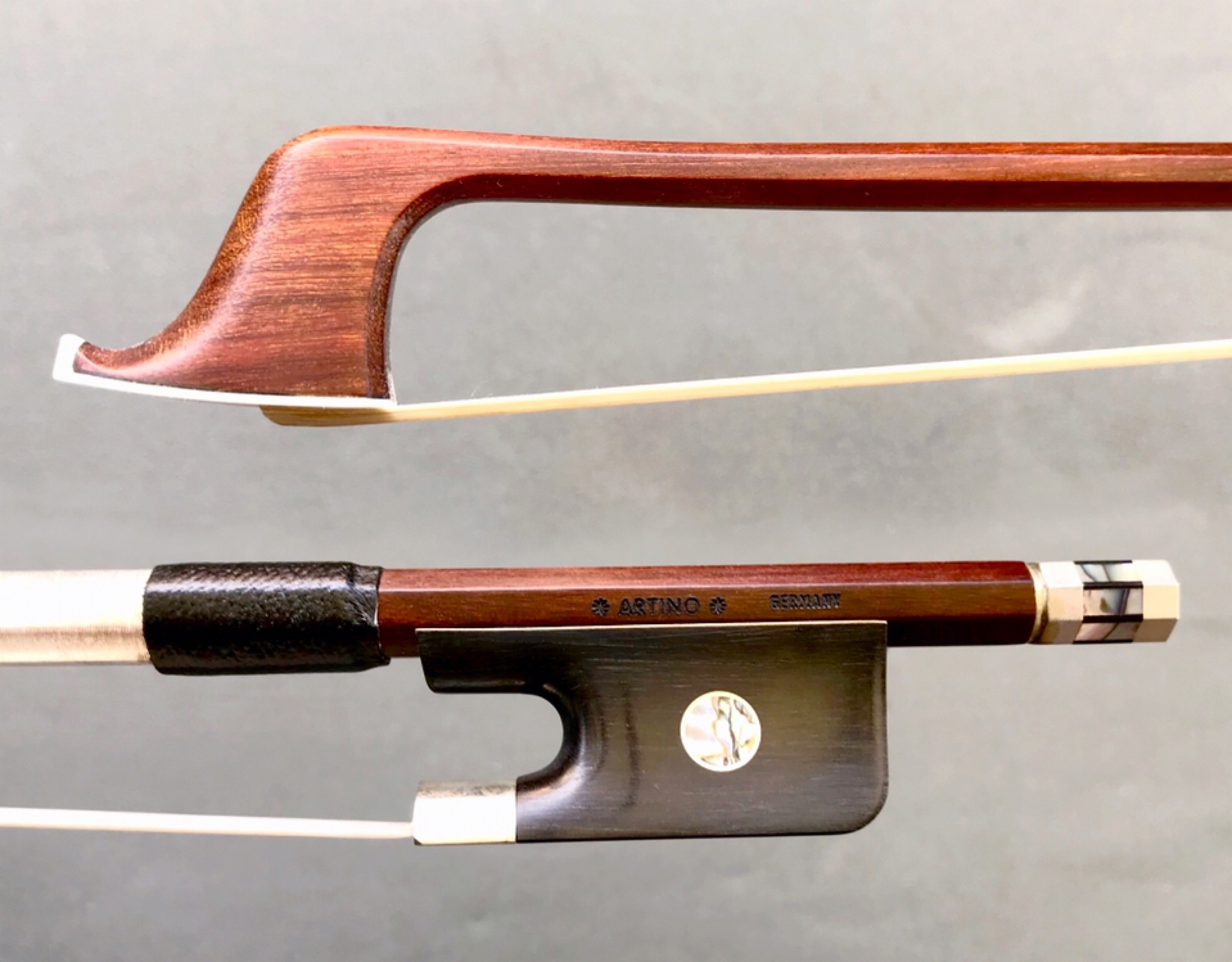 Otto Musica *ARTINO* GERMANY silver Pernambuco cello bow, octagonal, with Paris eyes & fancy button