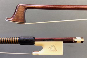 English J.S. RAMEAU Pernambuco violin bow, ivory & gold-mounted, by John Clutterbuck, ENGLAND