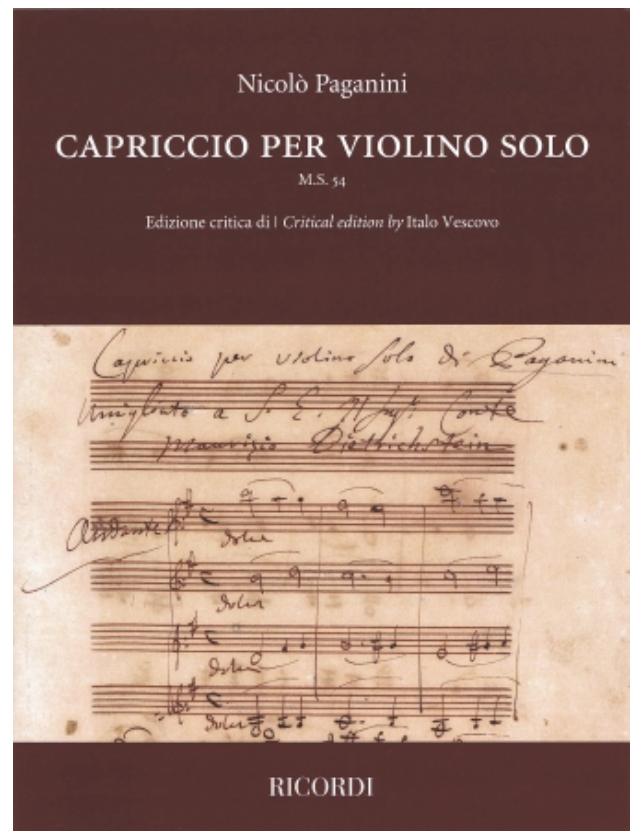 HAL LEONARD Paganini: Capriccio per violino solo (violin) RICORDI