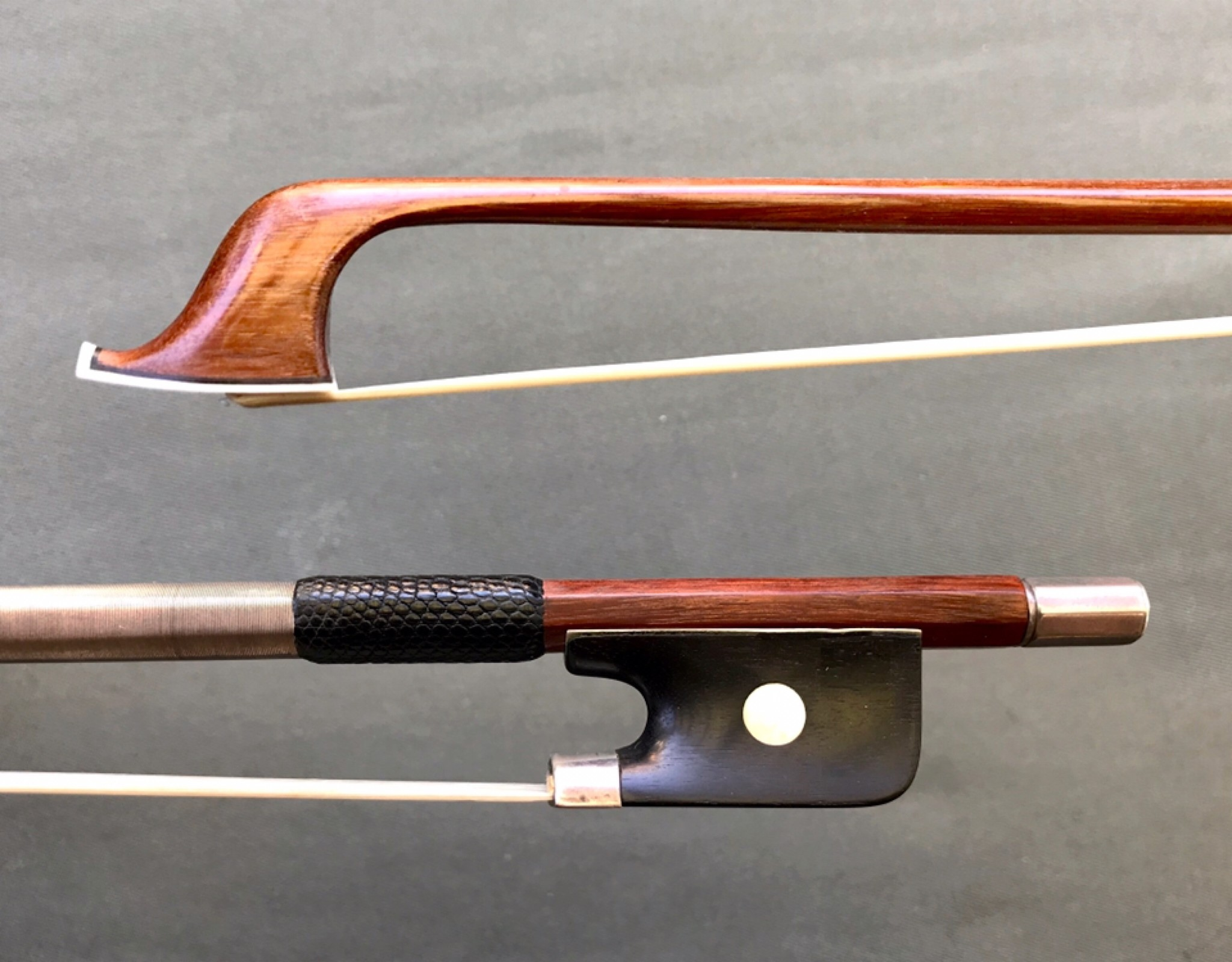 German silver & ebony viola bow, unbranded