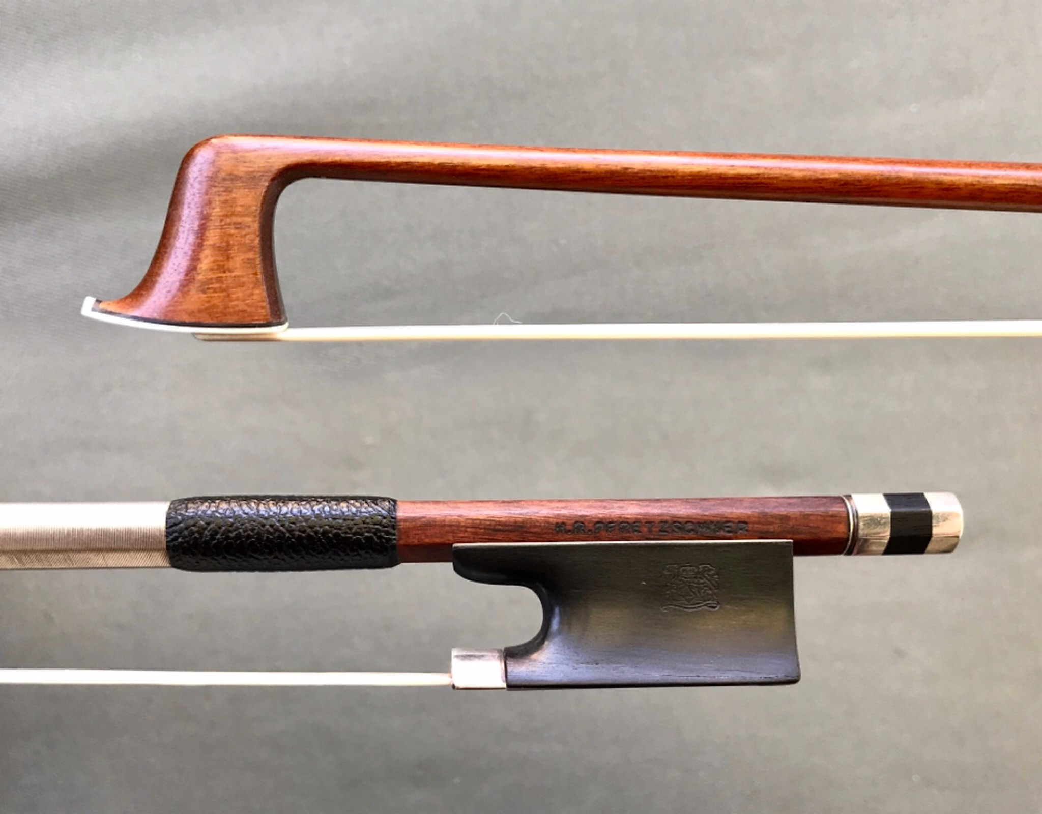 H.R. PFRETZSCHNER silver violin bow, ca 1900, with newer button, GERMANY