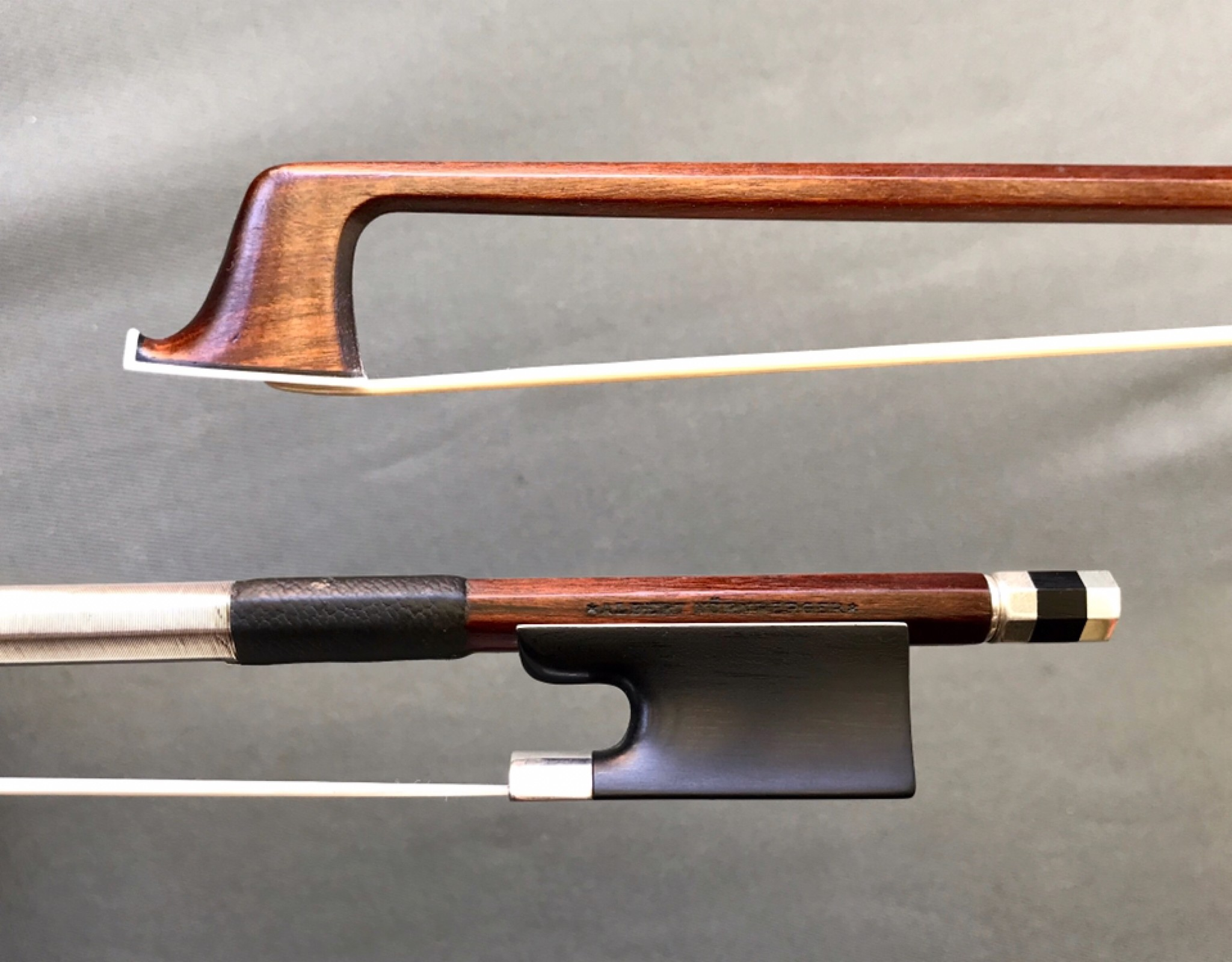 *ALBERT NÜRNBERGER* violin bow, silver & ebony, 60.4 g, GERMANY