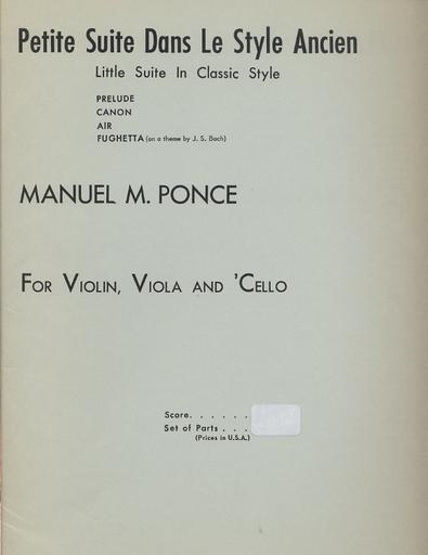 HAL LEONARD Ponce, Manuel: Petite Suite Little Suite in Classic Style (violin, Viola, Cello)