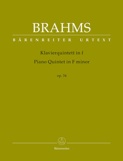 Barenreiter Brahms: Piano quintet in F minor Op.34 - URTEXT (violin, violin, viola, cello & piano) Barenreiter