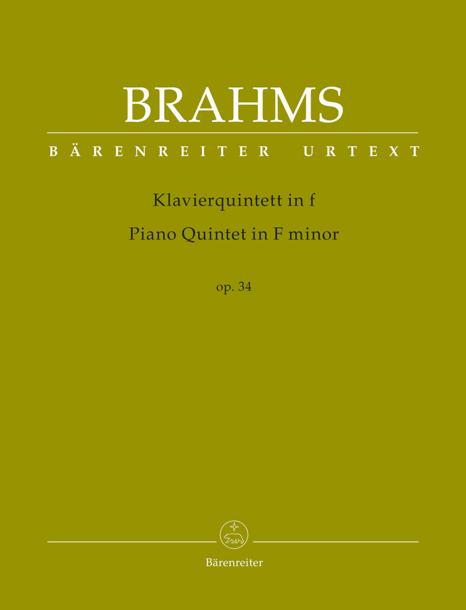 Barenreiter Brahms: Piano quintet in F minor Op.34 - URTEXT (violin, violin, viola, cello & piano) Barenreiter