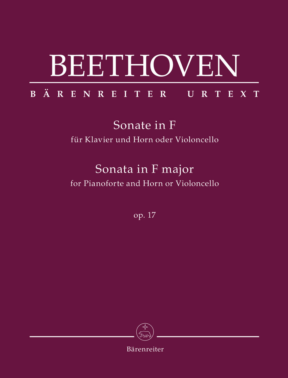 Barenreiter Beethoven, Ludwig van (Del Mar): Sonata for Pianoforte and Horn or Violoncello in F major op. 17, Barenreiter Urtext