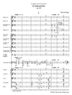 Barenreiter Elgar, Edward (Del Mar): Cello Concerto in E Minor Op.85 (study score) Barenreiter Urtext