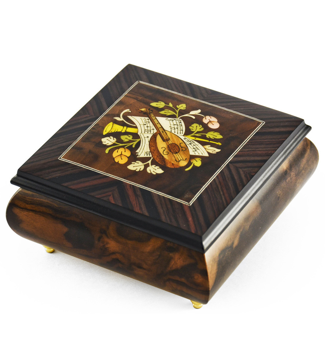 Giglio Asla Music box, burl walnut & rosewood, with inlaid lute, Magic Flute melody, Sorrento, ITALY