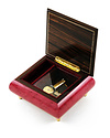 """Giglio Asla Music box, wine-red burl-elm, with inlaid violin and flutes, Beethoven's """"fur Elise"""" melody, Sorrento, ITALY"""