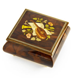 "Giglio Asla Music box, burl-walnut & rosewood, with inlaid lute, Beethoven's ""Ode to Joy"" melody, Sorrento, ITALY"