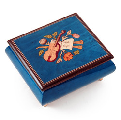 Giglio Asla Music box, dark blue burl-elm, with inlaid violin and flutes, Rachmaninoff's 18th Variation melody, Sorrento, ITALY
