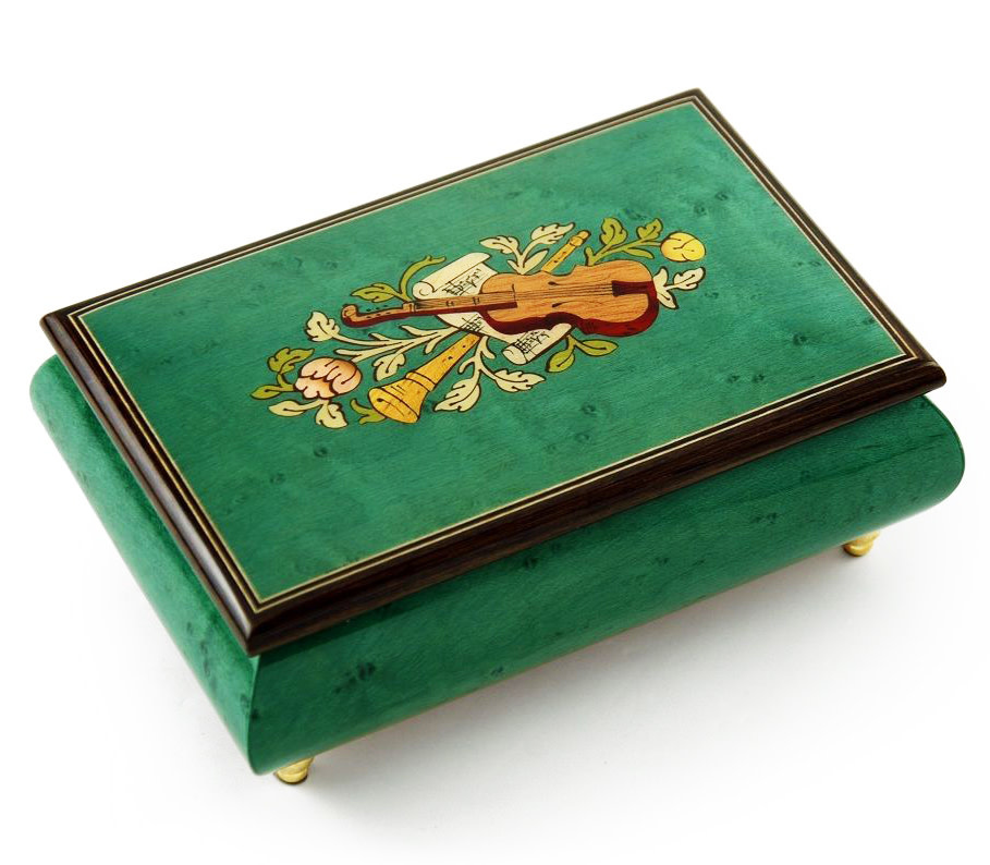 """Giglio Asla Music box, Mint Green burl-elm & rosewood, with inlaid violin, Vivaldi's """"Four Seasons"""" (Spring) melody, Sorrento, ITALY"""