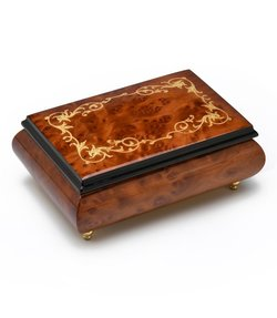 "Giglio Asla Music box, Brown burl-elm & rosewood, with Arabesque inlaid violin, ""La Vie en Rose"" melody, Sorrento, ITALY"