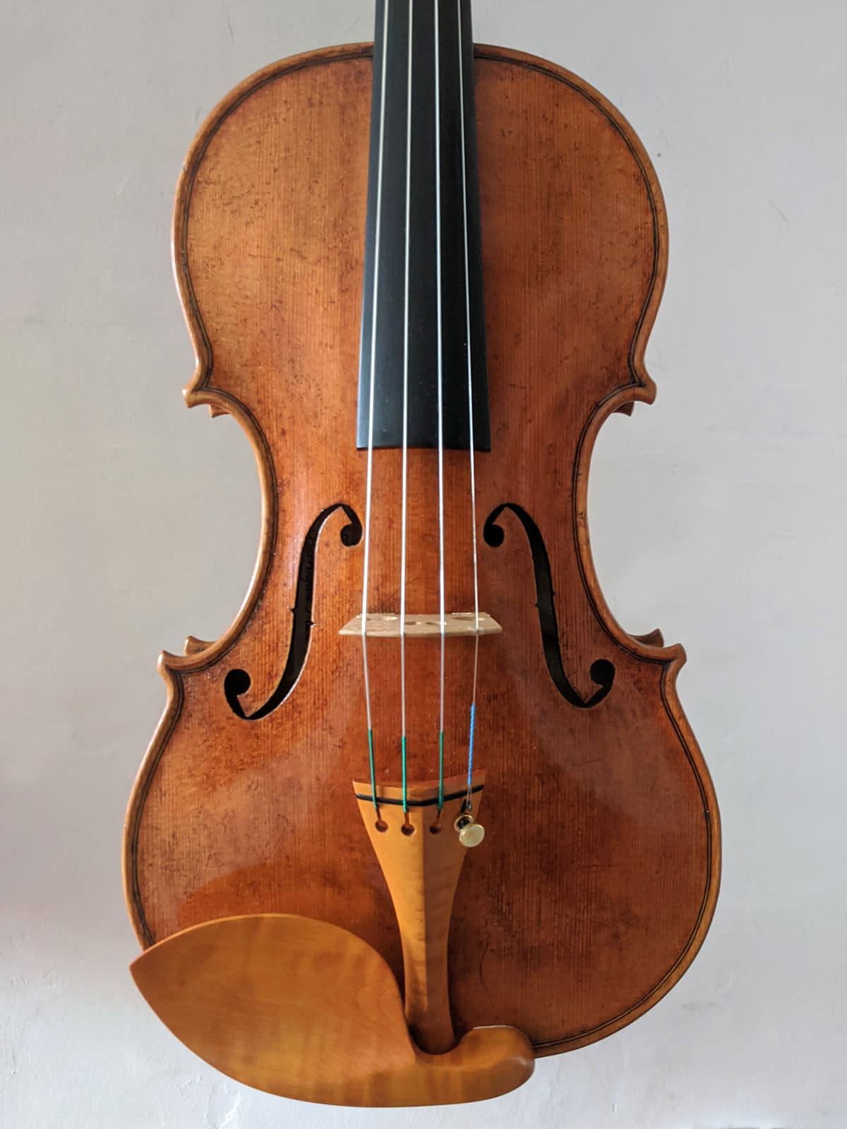 Francis Morris violin, Lord Wilton Guarneri model, highly antiqued, 2020, Great Barrington, MA, USA