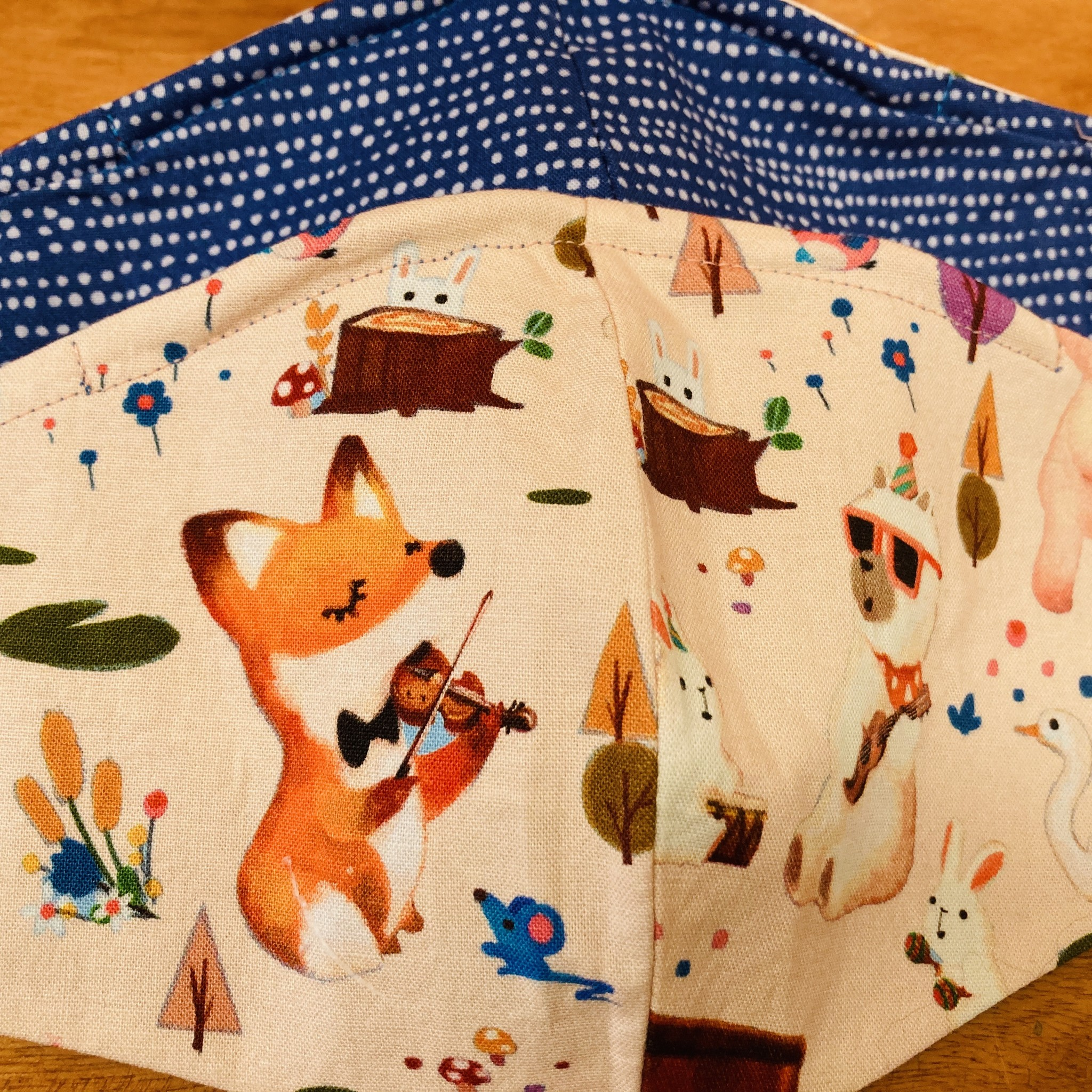 Face Mask 4, Foxy Violin and Blue Dots motif, double sided, Made by Barbara