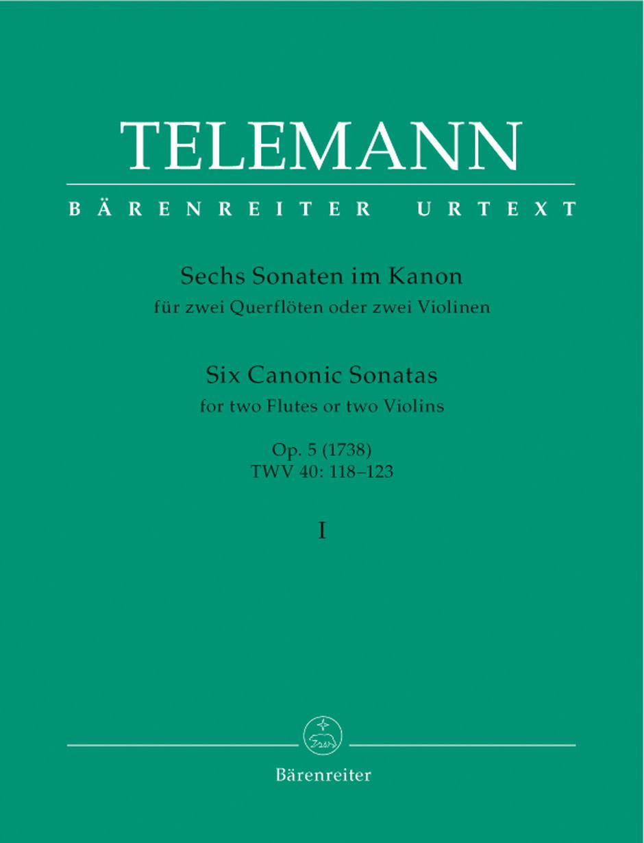 Barenreiter Telemann, G.P. (Hausswald): 6 Canonic Sonatas #1-3, Vol. 1, (2 Violins) Barenreiter
