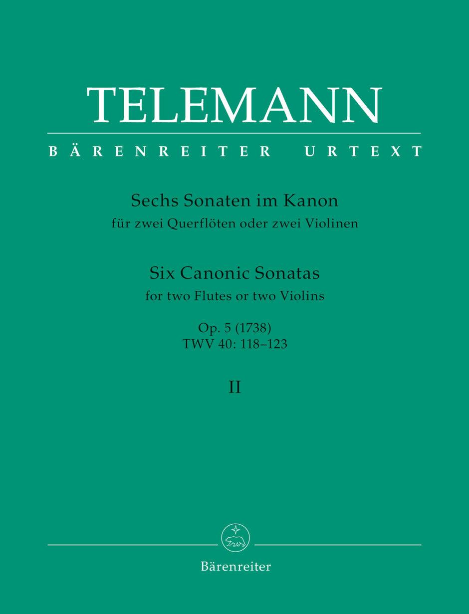 Barenreiter Telemann, G.P. (Hausswald): 6 Canonic Sonatas #4-6, Vol. 2, (2 Violins) Barenreiter