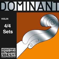 Thomastik-Infeld DOMINANT 4/4 violin string set by Thomastik-Infeld, medium, stainless steel E with removable ball end,