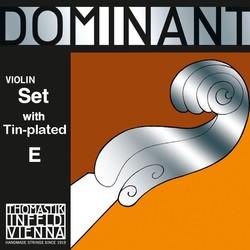 Thomastik-Infeld DOMINANT 4/4 violin string set by Thomastik-Infeld, medium, tin-plated E with removable ball end, aluminum D