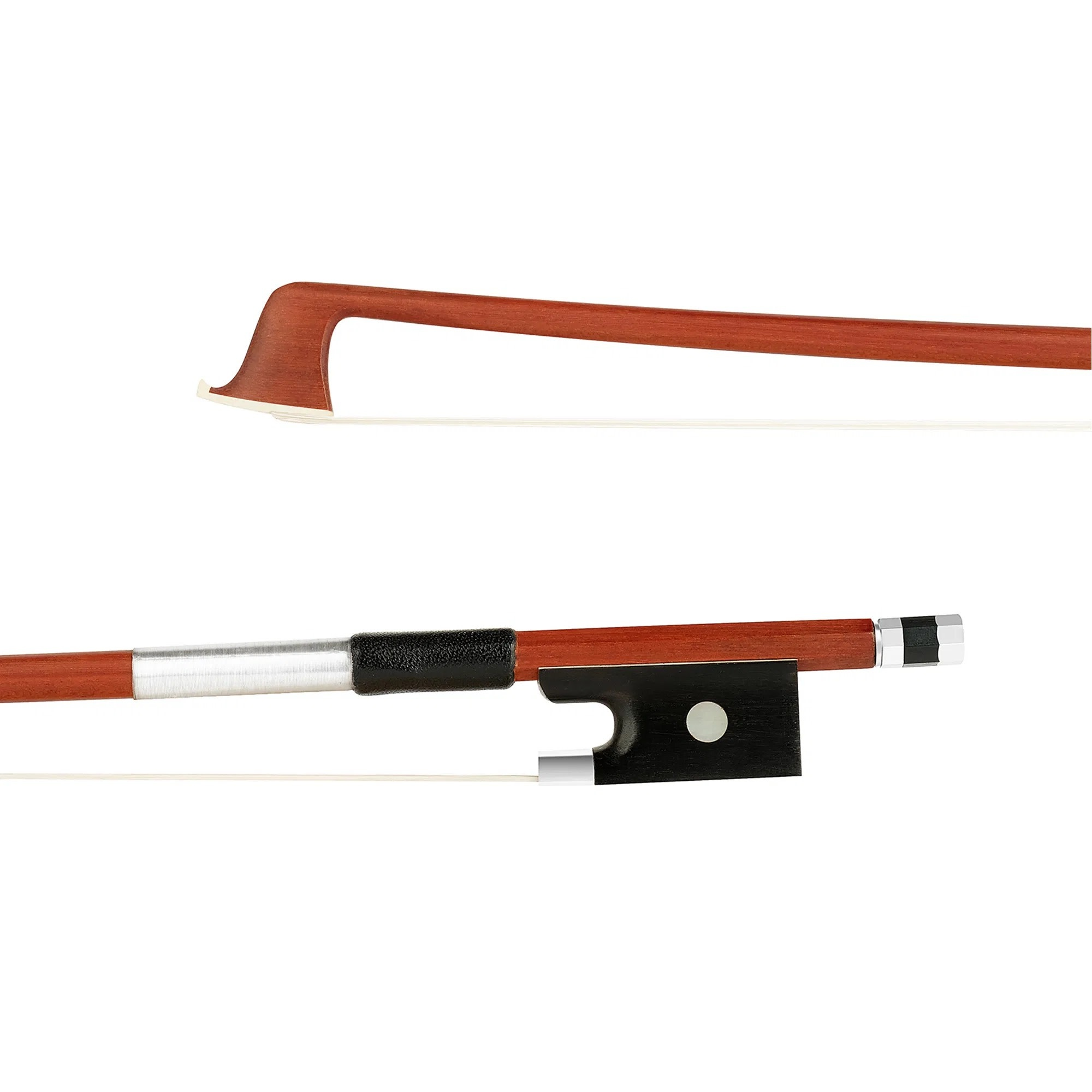 Student unbranded 4/4 Brazilwood half-lined student violin bow, nickel
