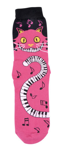 Ladies magenta socks with the cat piano keys tail desigin. Sizes 9 - 11.