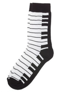 Kids keyboard socks black and white (kids 7 1/2-9)