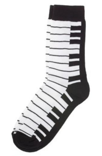 Kids keyboard socks black and white (kids 7 1/2-9)