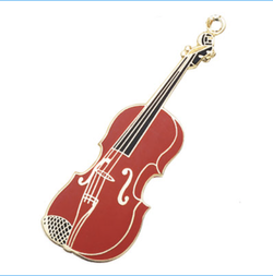AIM Gifts Violin Key Chain - Polished Brass (Burgundy)