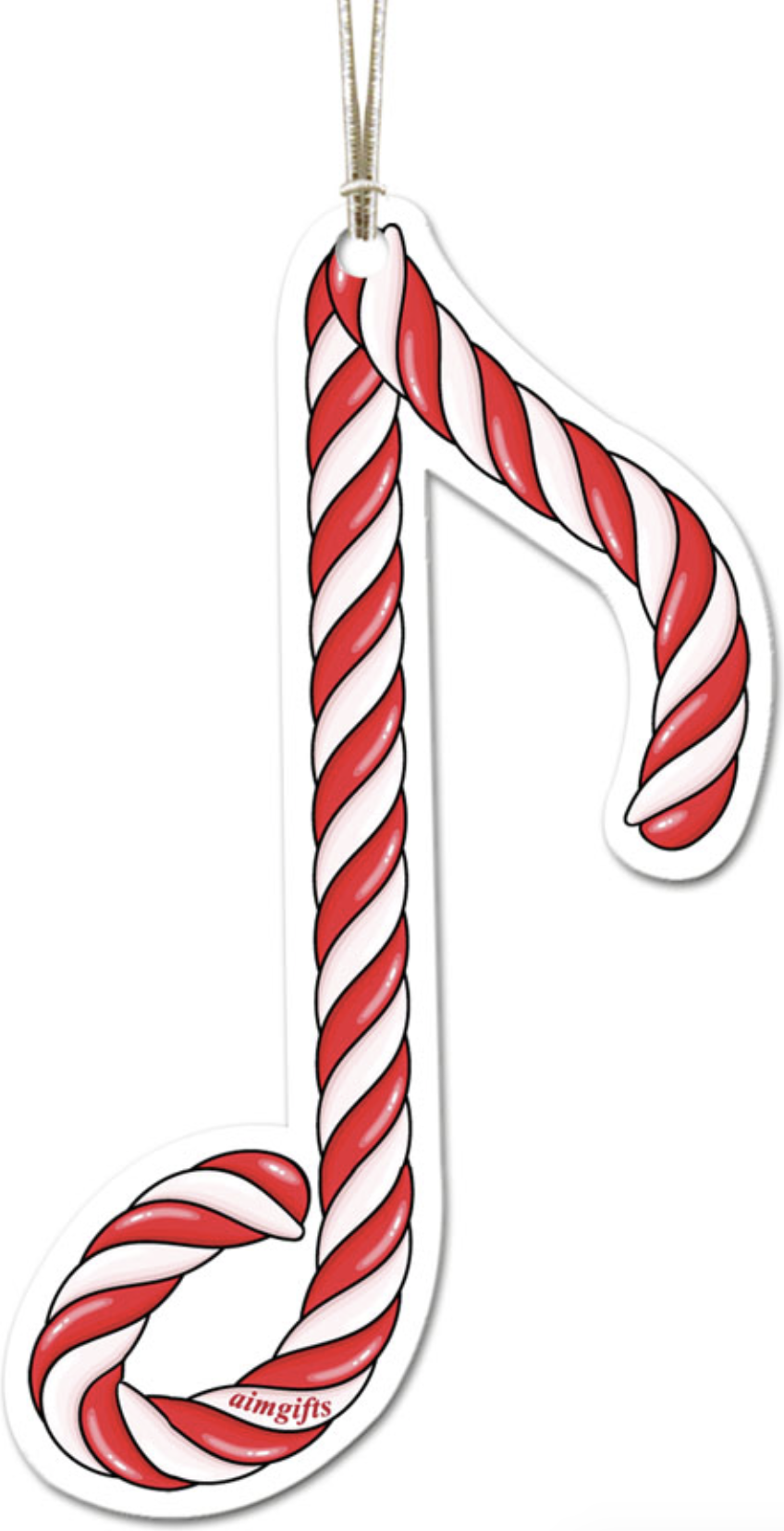 AIM Gifts Ornament Candy Cane Eighth Note