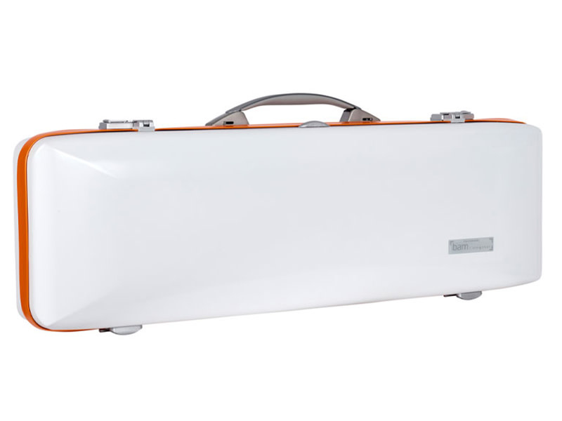 BAM BAM Ice Supreme oblong polycarbonate Hightech violin case, white / orange