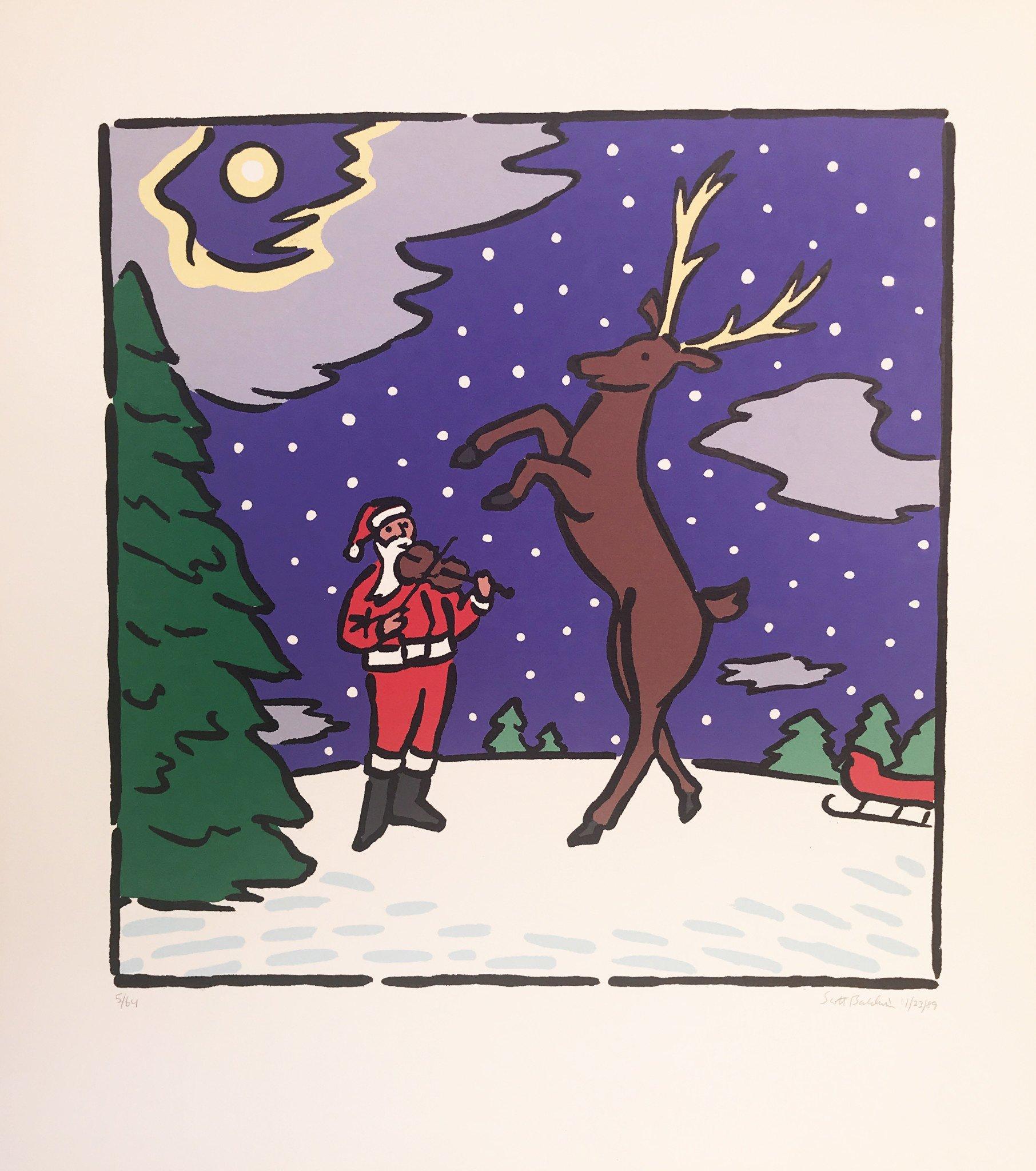 Limited Edition Santa & Reindeer Lithograph by Scott Baldwin