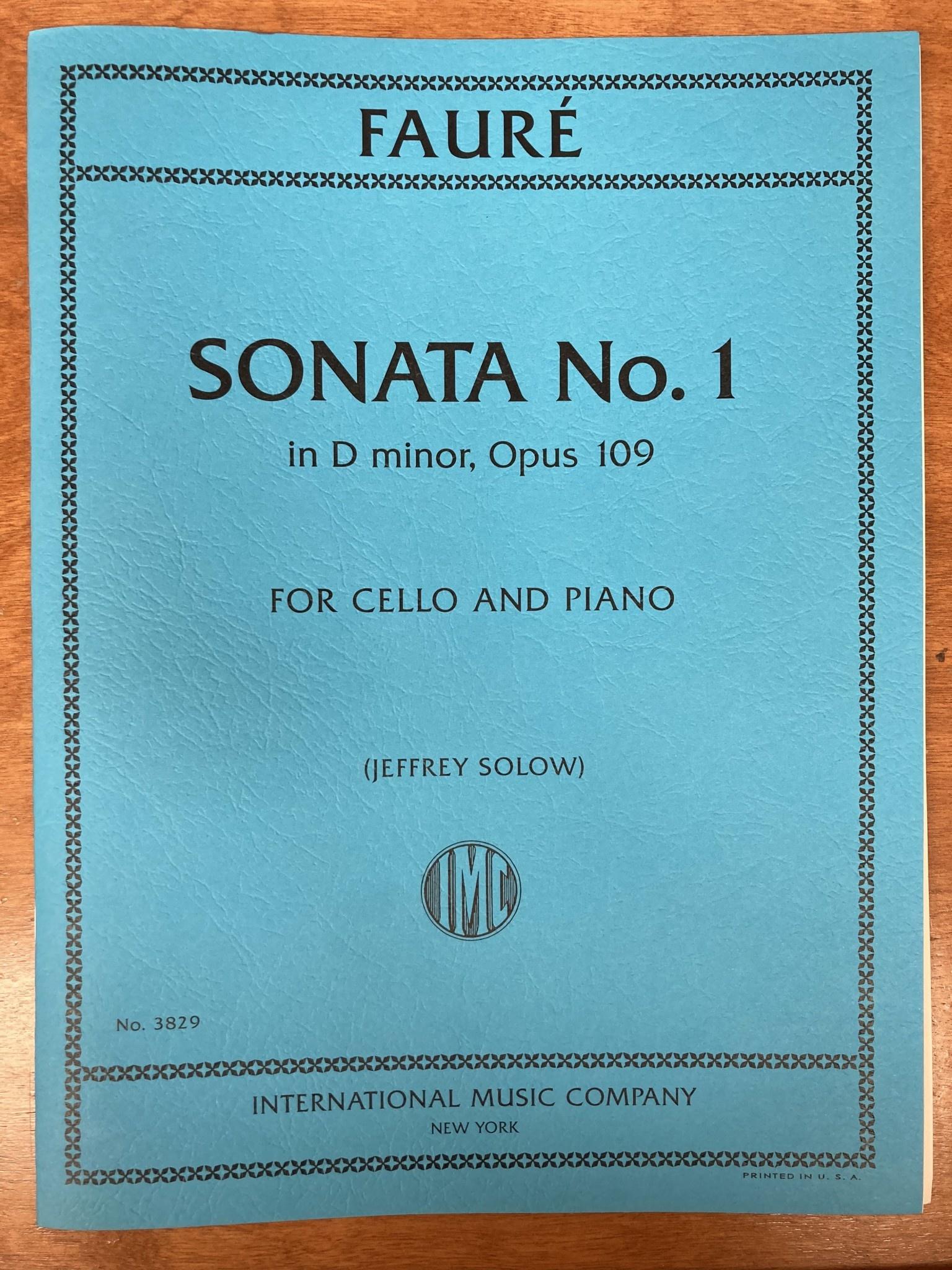 International Music Company Faure (Solow): Sonata No.1 in D minor, opus 109 (cello and piano) IMC