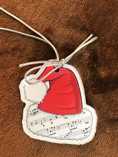 AIM Gifts Ornament, Santa hat with music, and mirror finish on back