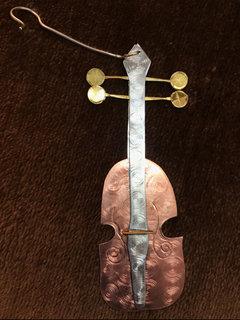 Pilgrim Ornament, Violin, copper, silver and brass