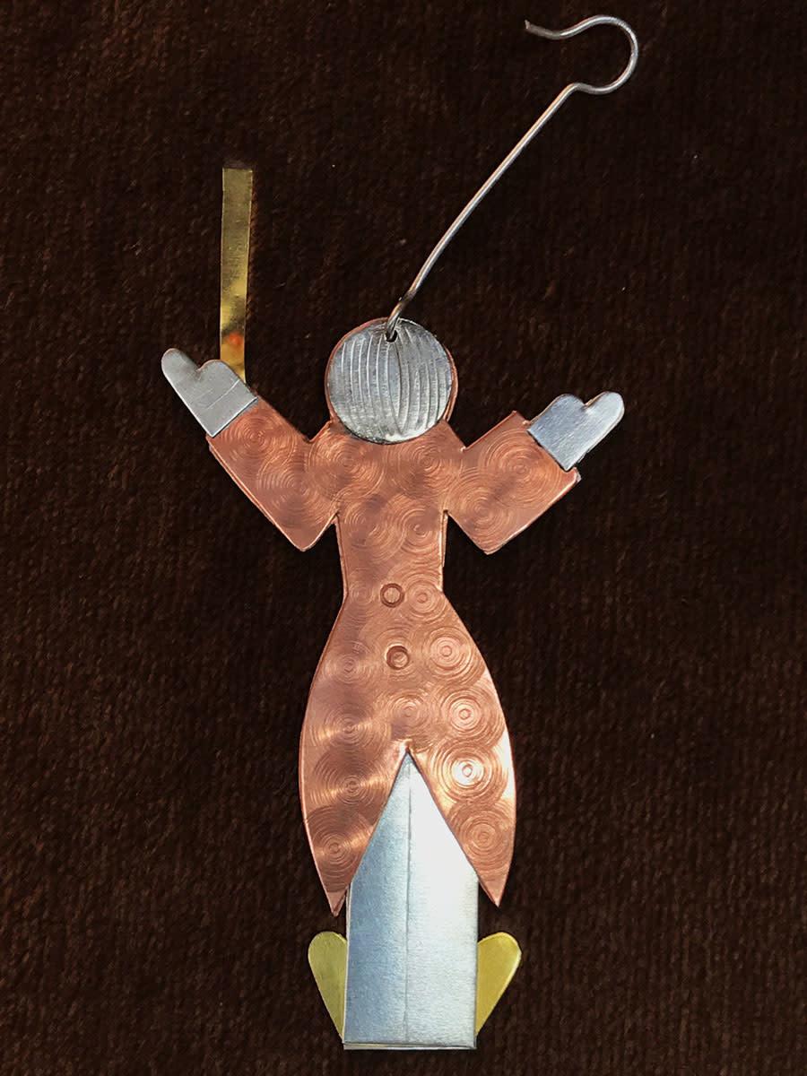 Pilgrim Ornament, Conductor, copper, silver and brass