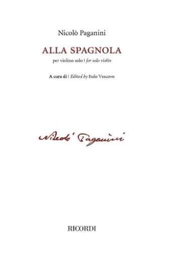 RICORDI Paganini: Alla spagnola (violin) Ricordi