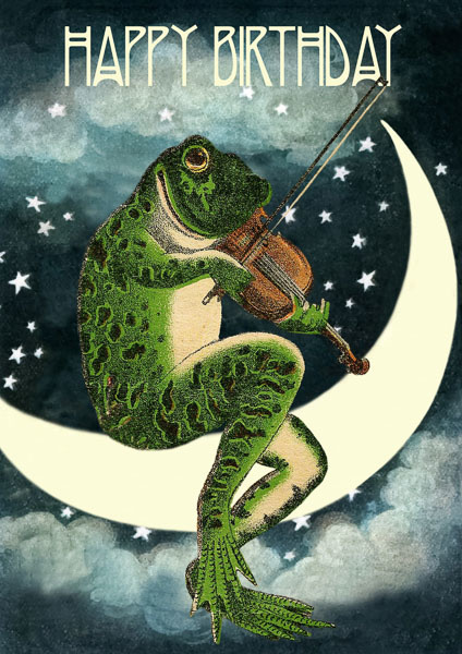 Madame Treacle Happy Birthday Card with Frog playing Violin on Moon