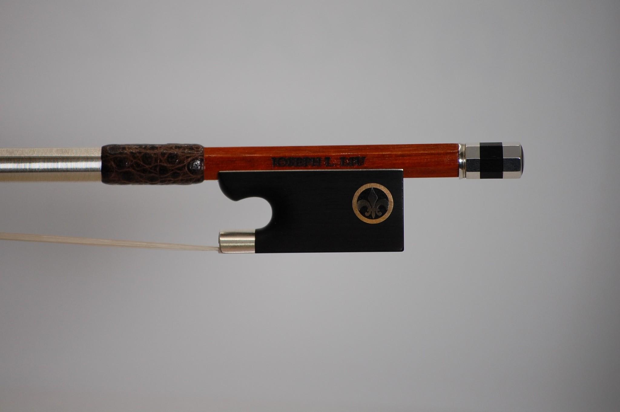 JOSEPH LIU violin bow, silver-mounted w/ brass/nickel Fleur de Lis, Kansas City USA