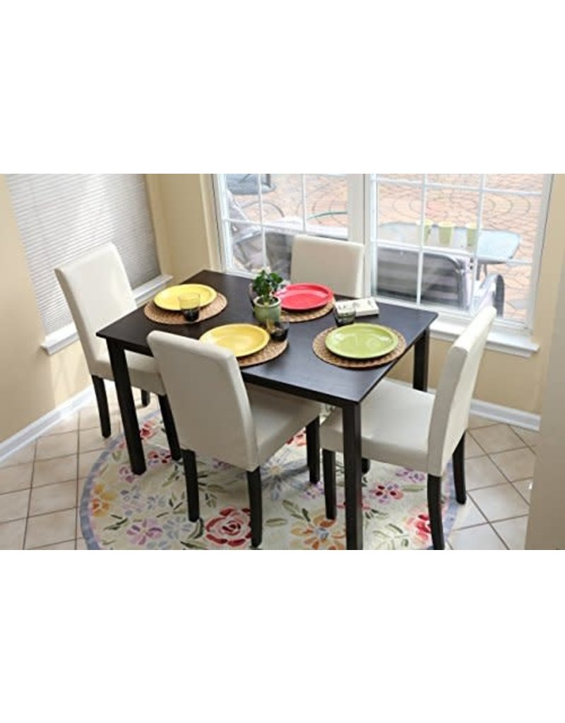 Dinette Ivory Leather Dining Table w/4chairs DINETTEIV
