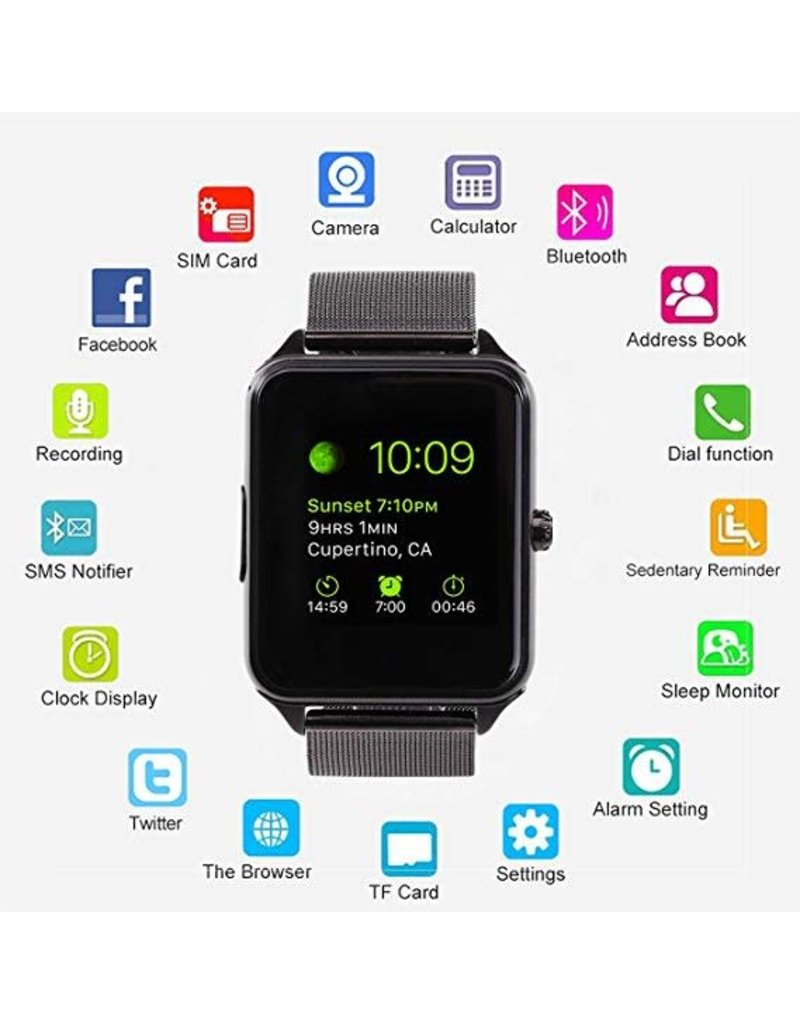 MSRM Smart Watch Bluetooth, Anti-Theft Black