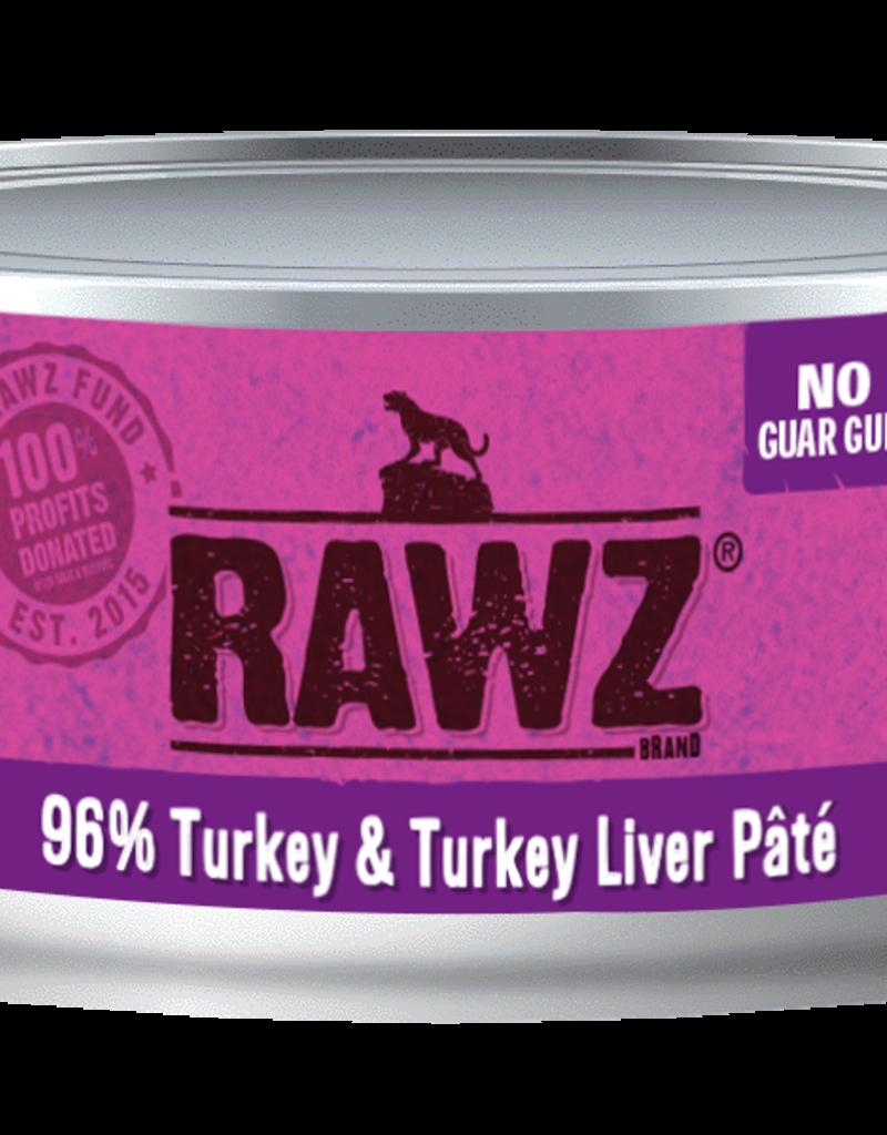 Rawz Rawz Canned Cat Food - 96% Turkey & Turkey Liver Pate 5.5 oz