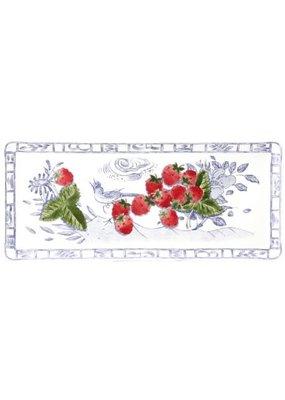 """Gien France Gien Oblong Serving Tray  14"""" - Oiseau Bleu Fruits"""