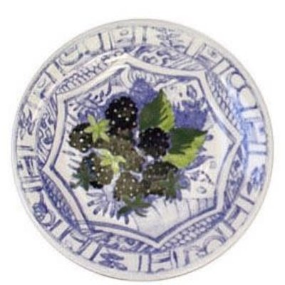Gien France Gien Oiseau Bleu Fruits Canape Plate Blackberry