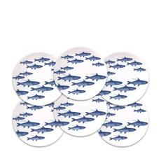 Caskata Caskata School of Fish Blue Canapés -Set/6