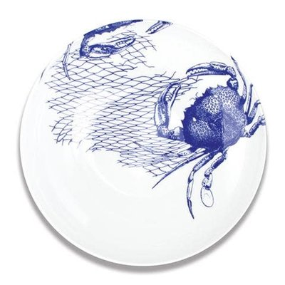 "Caskata Caskata Crabs & Nets Blue 13"" Bowl"