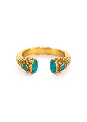 Julie Vos Julie Vos Byzantine Cuff - Turquoise and Pearl