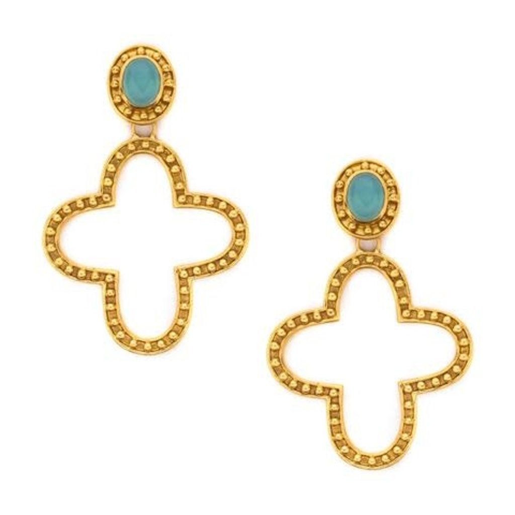 Julie Vos **disc** Julie Vos Sienna Statement Earring Aqua Chalcedony