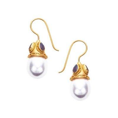 Julie Vos Julie Vos Baroque Earring - Pearl and Labradorite