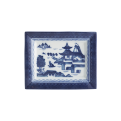 Mottahedeh Mottahehdeh Blue Canton Rectangular Tray Large